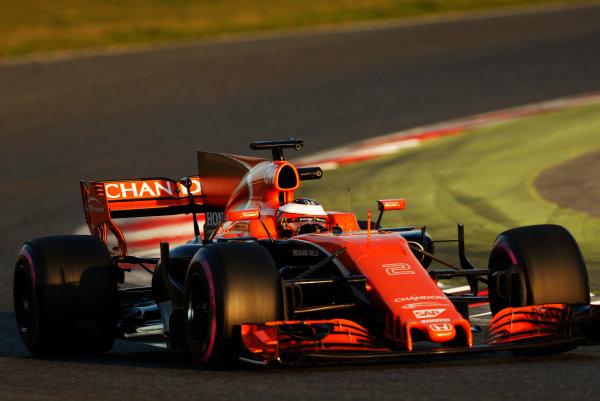 Circuit de Barcelona Catalunya, Barcelona, Spain. Thursday 02 March 2017. Stoffel Vandoorne, McLaren MCL32 Honda. World Copyright: Glenn Dunbar/LAT Images ref: Digital Image _X4I3372