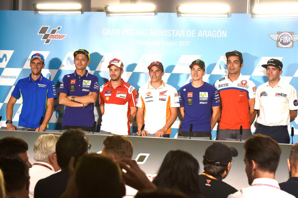 2017 MotoGP Championship - Round 14 Aragon, Spain. Thursday 21 September 2017 Alex Rins, Team Suzuki MotoGP, Valentino Rossi, Yamaha Factory Racing, Andrea Dovizioso, Ducati Team, Marc Marquez, Repsol Honda Team, Maverick Viñales, Yamaha Factory Racing, Danilo Petrucci, Pramac Racing, Simeon World Copyright: Gold and Goose / LAT Images ref: Digital Image 693400