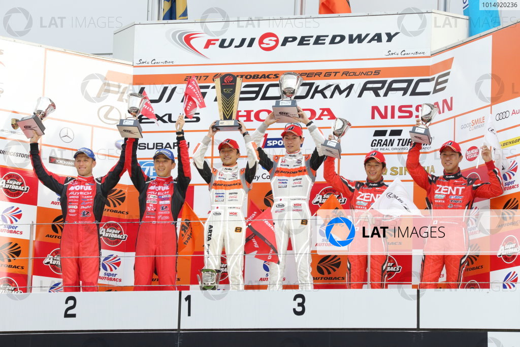 2017 Japanese Super GT Series. Fuji, Japan. 5th - 6th August 2017. Rd 5. GT500 Winner Tomoki Nojiri & Takashi Kobayashi ( #8 ARTA NSX-GT ) 2nd position Tsugio Matsuda & Ronnie Quintarelli ( #23 MOTUL AUTECH GT-R ) 3rd position Yuji Tachikawa & Hiroaki Ishiura ( #38 ZENT CERUMO LC500 ) podium portrait World Copyright: Yasushi Ishihara / LAT Images. Ref: 2017JSGT_Rd5_005