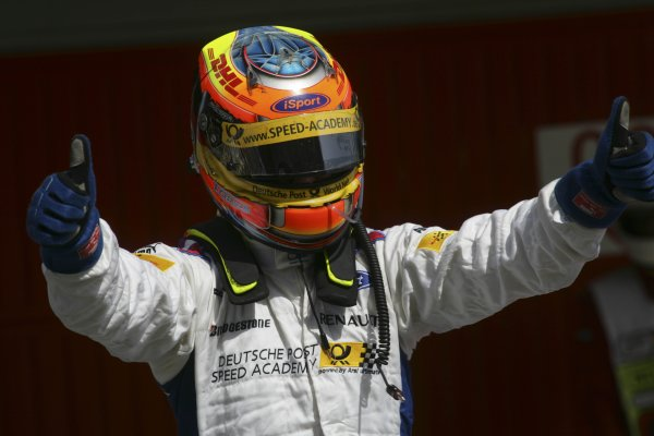 2007 GP2 Series. Round 2. Sunday RaceBarcelona, Spain. 13th May 2007. Timo Glock (GER, iSport International) celebrates victory.World Copyright: Andrew Ferraro/GP2 Series Media Sevice  ref: Digital Image ZP9O7148