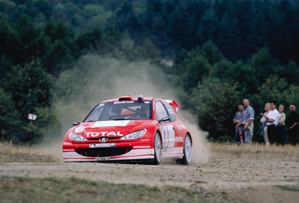 2003 World Rally ChampionshipRally Deutschland, Germany. 25th - 27th July 2003.Marcus Gronholm / Timo Rautiainen (Peugeot 206 WRC), action.World Copyright: McKlein/LAT Photographicref: 35mm Image A22