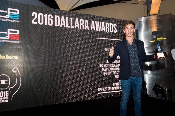 2016 GP2/3 Awards Evening. Yas Marina Circuit, Abu Dhabi, United Arab Emirates. Sunday 27 November 2016. Pierre Gasly (FRA, PREMA Racing)  Photo: Sam Bloxham/GP2 Series Media Service/GP3 Series Media Service. ref: Digital Image _SLA9829