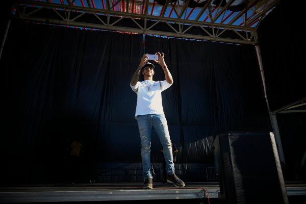 Circuit of the Americas, Austin Texas, USA. Saturday 22 October 2016. Lewis Hamilton, Mercedes AMG, on stage. World Copyright: Steve Etherington/LAT Photographic ref: Digital Image SNE29781