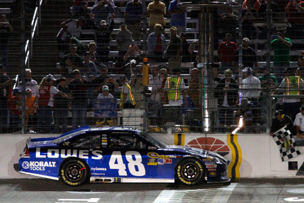 2-4 November, 2012, Fort Worth, Texas USA Jimmie Johnson drives to collect the checkered flag to celebrate his victory.(c)2012, Lesley Ann Miller LAT Photo USA