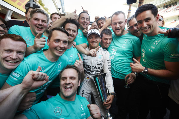 Circuit de Catalunya, Barcelona, Spain. Sunday 10 May 2015. Nico Rosberg, Mercedes AMG, 1st Position, celebrates with his team. World Copyright: Steve Etherington/LAT Photographic. ref: Digital Image SNE10385