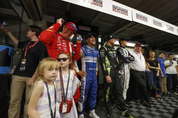 29 May, 2016, Indianapolis, Indiana Scott Dixon, Tony Kanaan, Charlie Kimball, Max Chilton and Chip Ganassi in the garage before the race ?2016, Michael L. Levitt LAT Photo USA