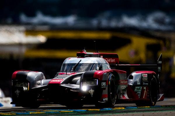 2016 Le Mans 24 Hours. Circuit de la Sarthe, Le Mans, France. Saturday 18 June 2016. Audi Sport Team Joest / Audi R18 - Marcel Fassler (CHE), Andre Lotterer (DEU), Benoit Treluyer (FRA).  World Copyright: Zak Mauger/LAT Photographic ref: Digital Image _L0U6384
