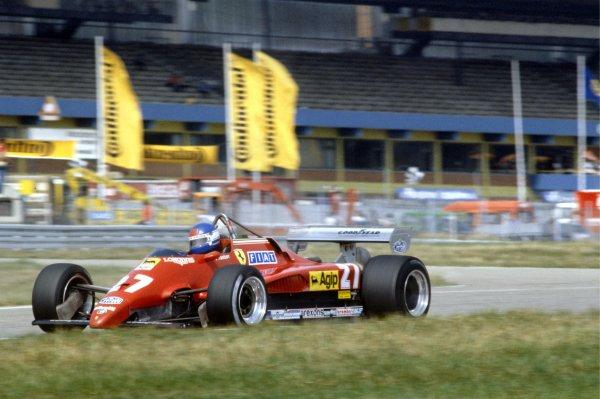 1982 German Grand Prix.Hockenheim, Germany. 8 August 1982.Patrick Tambay, Ferrari 126C2, 1st position, action.World Copyright: LAT PhotographicRef: 35mm transparency 82GER