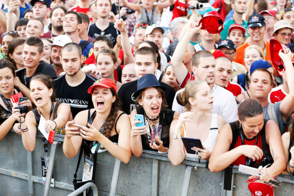 Hungaroring, Budapest, Hungary. Thursday 23 July 2015. Fans wait for autographs from the drivers. World Copyright: Charles Coates/LAT Photographic ref: Digital Image _J5R0731