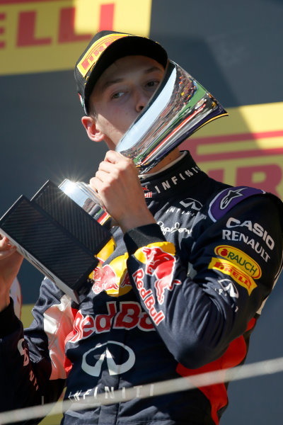 Hungaroring, Budapest, Hungary. Sunday 26 July 2015. Daniil Kvyat, Red Bull Racing, 2nd Position, kisses his trophy on the podium. World Copyright: Charles Coates/LAT Photographic ref: Digital Image _J5R8462