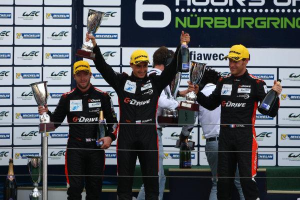 2015 FIA World Endurance Championship, Nurburgring, Germany. 28th - 30th August 2015. Romain Rusinov / Julien Canal / Sam Bird G-Drive Racing Ligier JS P2 Nissan. World Copyright: Ebrey / LAT Photographic.