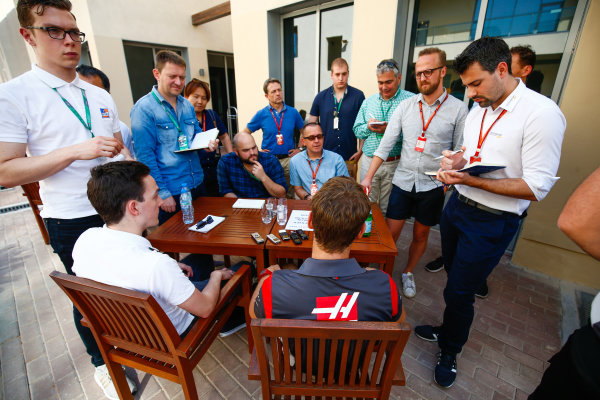 Yas Marina Circuit, Abu Dhabi, United Arab Emirates. Thursday 23 November 2017. Romain Grosjean, Haas F1, talks to the press. World Copyright: Andy Hone/LAT Images  ref: Digital Image _ONY9591