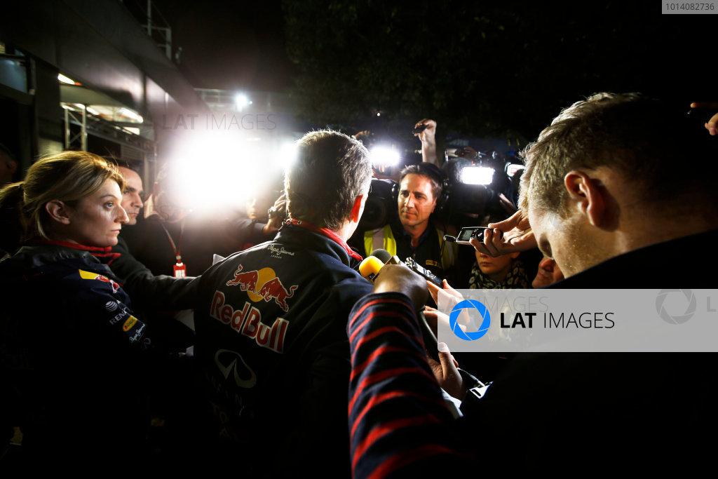 Albert Park, Melbourne, Australia. Sunday 16 March 2014. Christian Horner, Team Principal, Red Bull Racing, addresses the media regarding the disqualification of the car of Daniel Ricciardo, Red Bull Racing. World Copyright: Charles Coates/LAT Photographic. ref: Digital Image _J5R6568