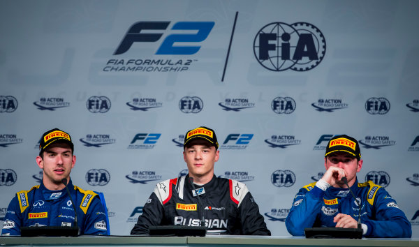 2017 FIA Formula 2 Round 10. Circuito de Jerez, Jerez, Spain. Sunday 8 October 2017. Nicholas Latifi (CAN, DAMS), Artem Markelov (RUS, RUSSIAN TIME), Oliver Rowland (GBR, DAMS).  Photo: Zak Mauger/FIA Formula 2. ref: Digital Image _X0W2974