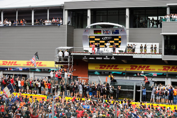 Spa Francorchamps, Belgium.  Sunday 27 August 2017. Sebastian Vettel, Ferrari, 2nd Position, addresses the crowd after the podium ceremony. World Copyright: Zak Mauger/LAT Images  ref: Digital Image _56I4354