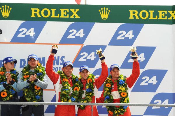 Circuit de La Sarthe, Le Mans, France. 6th - 13th June 2010.Marco Holzer / Richard Westbrook / Timo Scheider, BMS Scuderia Italia SPA, No 97 Porsche 911 GT3-RSR (997), on the podium. Portrait. Podium. World Copyright: Jeff Bloxham/LAT PhotographicDigital Image DSC_1788 jpg