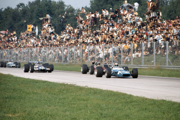 1969 Italian Grand Prix.  Monza, Italy. 5-7th September 1969.  Jackie Stewart, Matra MS80 Ford, leads Jochen Rindt, Lotus 49B Ford, and Piers Courage, Brabham BT26A Ford.  Ref: 69ITA04. World Copyright: LAT Photographic