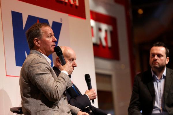 Autosport International Show NEC, Birmingham.  Sunday 12 January 2014. Martin Brundle and John Surtees on the stage. World Copyright:Sam Bloxham/LAT Photographic ref: Digital Image _SBL2720
