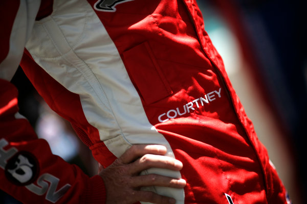 YAS Marina Circuit, Abu Dhabi. 10th -  12h February 2011. The name of James Courtney, (Walkinshaw Performance) on his race overalls.Portrait. Detail. World Copyright: Drew Gibson/LAT Photographicref: Digital Image _Y8P4568