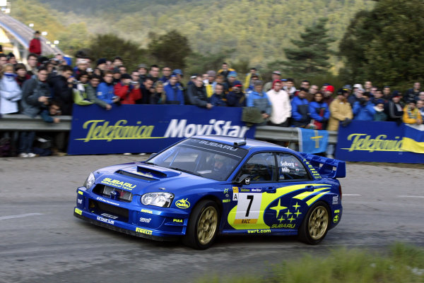 2003 FIA World Rally Champs. Round 13 Catalunya Rally 23rd-26th October 2003.Petter Solberg, Subaru, action. World Copyright: McKlein/LAT