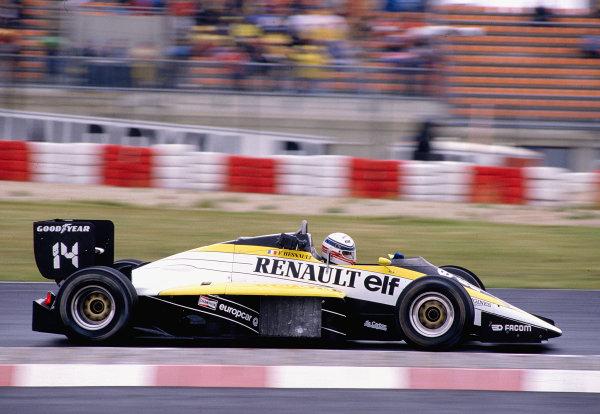 1985 German Grand Prix. Nurburgring, Germany. 2-4 August 1985. Francois Hesnault (Renault RE60). Ref-85 GER 33. World Copyright - LAT Photographic