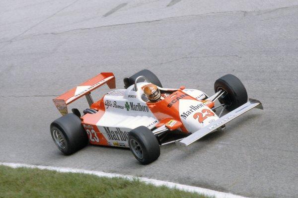 1981 Italian Grand PrixMonza, Italy. 11-13 September 1981.Bruno Giacomelli (Alfa Romeo 179C), 8th position. Ref - 81ITA26.World Copyright - LAT Photographic