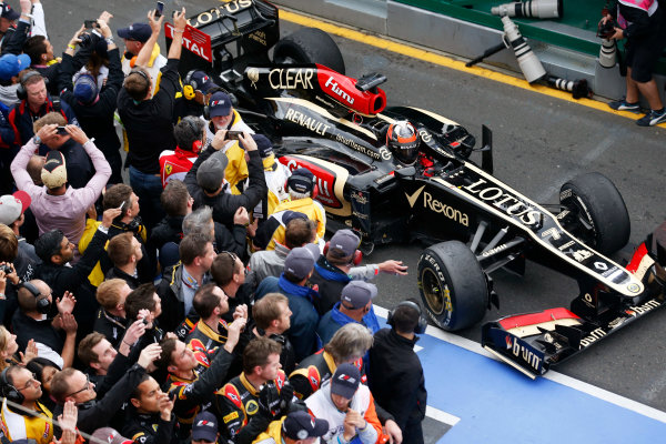 Albert Park, Melbourne, Australia Sunday 17th March 2013 Kimi Raikkonen, Lotus E21 Renault, 1st position, arrives in Parc Ferme. World Copyright: Steven Tee/  ref: Digital Image _L0U2367