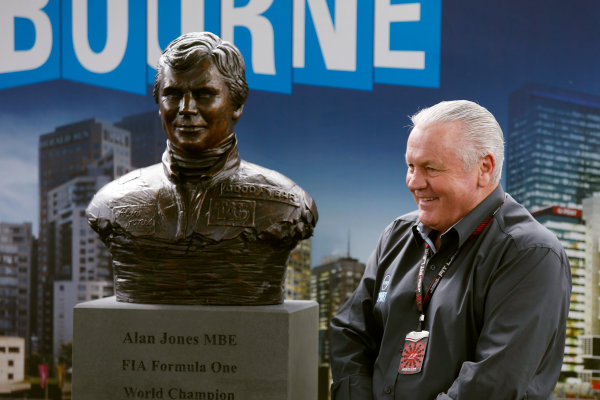 Albert Park, Melbourne, Australia Sunday 17th March 2013 Alan Jones with his commemorative bronze busts. World Copyright: Charles Coates/  ref: Digital Image _N7T6446