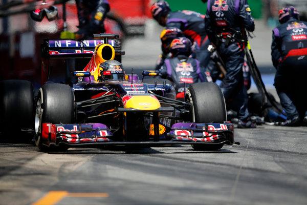 Circuit de Catalunya, Barcelona, Spain 12th May 2013 Sebastian Vettel, Red Bull RB9 Renault, leaves the pits. World Copyright: Steven Tee/LAT Photographic ref: Digital Image _14P2494