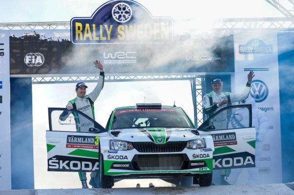 2017 FIA World Rally Championship, Round 02, Rally Sweden, February 09-12, 2017, Pontus Tidemand, Skoda, Podium, Worldwide Copyright: McKlein/LAT