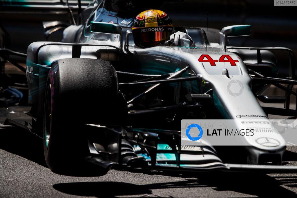 Monte Carlo, Monaco. Sunday 28 May 2017. Lewis Hamilton, Mercedes F1 W08 EQ Power+. World Copyright: Zak Mauger/LAT Images ref: Digital Image _54I8770