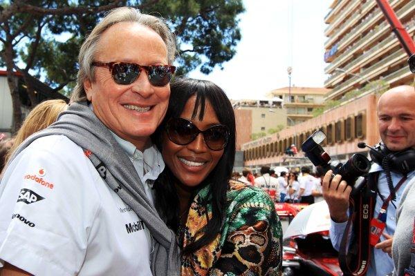 Mansour Ojjeh, McLaren shareholder with Naomi Campbell (GBR). Formula One World Championship, Rd 6, Race, Monaco Grand Prix, Monte-Carlo, Monaco, Sunday 16 May 2010.