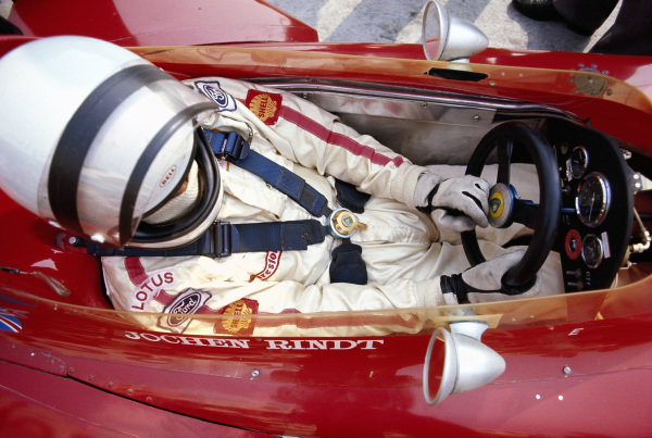 Jochen Rindt in the cockpit of his Lotus 72C Ford.
