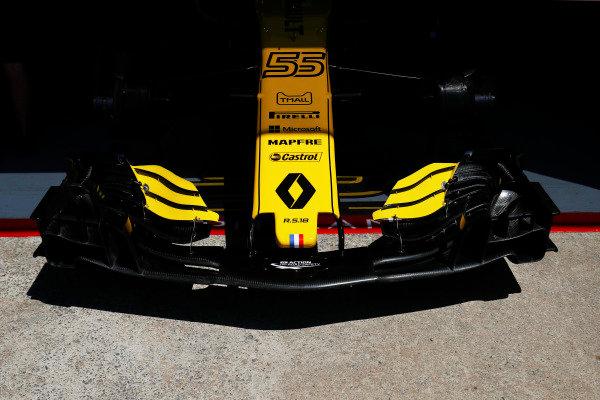 Nose detail of the Carlos Sainz Jr. Renault Sport F1 Team R.S. 18.