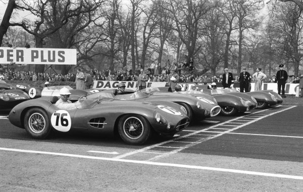 Oulton Park, Cheshire, England. 12th April 1958.Stirling Moss (Aston Martin DBR2), 1st position, start line action.World Copyright: LAT Photographic.Ref: Autosport Used Pic 16th April 1958 Pg 29.