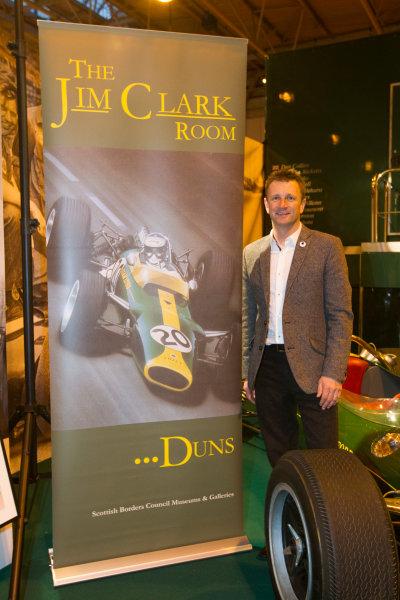 Autosport International Exhibition. National Exhibition Centre, Birmingham, UK. Friday 9 January 2015. Allan McNish at the Classic Team Lotus stand. World Copyright: Edd Hartley/Jakob Ebrey/LAT Photographic. ref: Digital Image JE2_2226