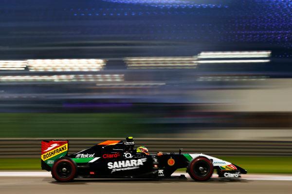 Yas Marina Circuit, Abu Dhabi, United Arab Emirates. Saturday 22 November 2014. Sergio Perez, Force India VJM07 Mercedes. World Copyright: Andy Hone/LAT Photographic. ref: Digital Image _ONY0699