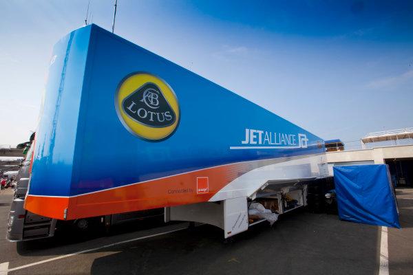 Test Day. Circuit de La Sarthe, Le Mans France. 23rd - 24th April. Lotus Jet Alliance. transporter. World Copyright: Alastair Staley/LAT Photographic Ref: _AS5D1627 jpg