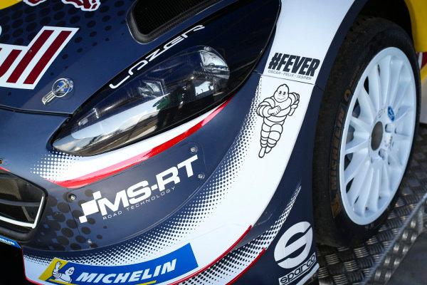 Henry Hope-Frost memorial tribute on the works Ford Fiesta WRC car of Sebastien Ogier
