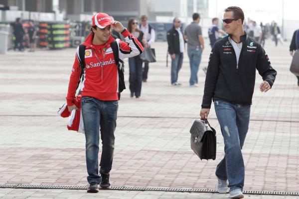 Korea International Circuit, Yeongam-Gun,South Korea. 15th October 2011. Felipe Massa, Ferrari F150° Italia, with Michael Schumacher, Mercedes GP W02. Portrait.  World Copyright:Glenn Dunbar/LAT Photographic ref: Digital Image _G7C4606