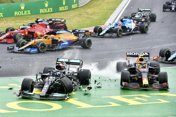 Valtteri Bottas, Mercedes W12 and Sergio Perez, Red Bull Racing RB16B crash