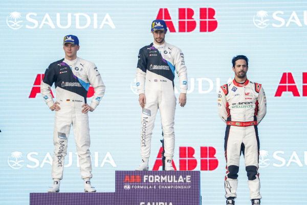 Alexander Sims (GBR) BMW I Andretti Motorsports, 1st position, Maximilian Günther (DEU), BMW I Andretti Motorsports, BMW iFE.20, 2nd position, and Lucas Di Grassi (BRA), Audi Sport ABT Schaeffler, Audi e-tron FE06, 3rd position