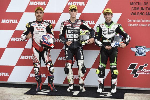 Polesitter Tony Arbolino, Marinelli Snipers Moto3, second place Nakarin Atiratphuvapat, Idemitsu Honda Team Asia, third place John McPhee, CIP Green Power.