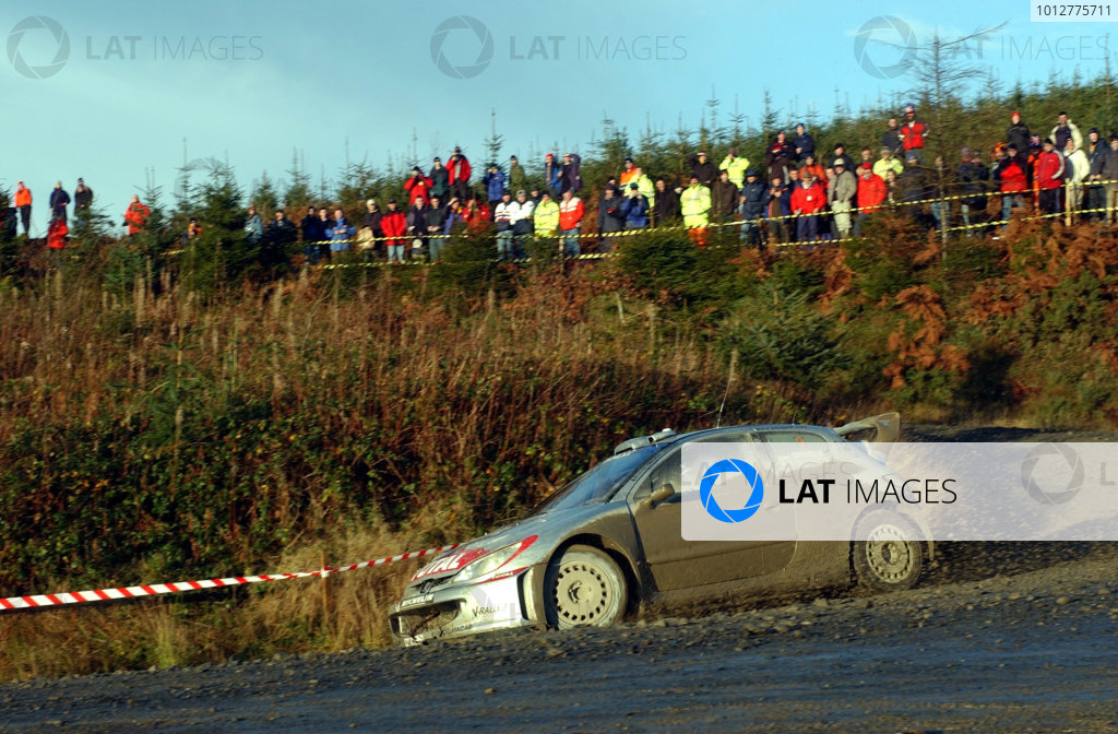 2002 World Rally Championship.Network Q Rally of Great Britain, Cardiff. November 14-17. Marcus Gronholm on Stage 3.Photo: Ralph Hardwick/LAT