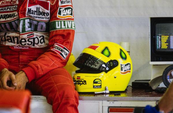 Christian Fittipaldi in the garage.