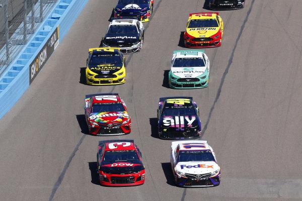 #11: Denny Hamlin, Joe Gibbs Racing, Toyota Camry FedEx Freight and #3: Austin Dillon, Richard Childress Racing, Chevrolet Dow