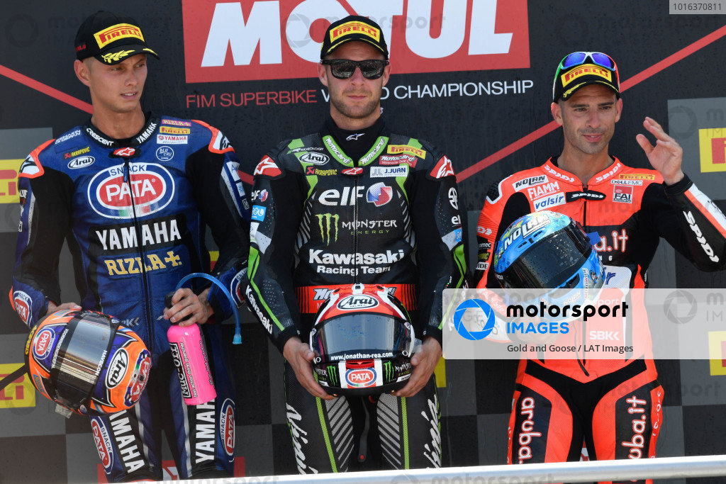 Race winner Jonathan Rea, Kawasaki Racing, second place Michael van der Mark, Pata Yamaha, third place Marco Melandri, Aruba.it Racing-Ducati SBK Team.