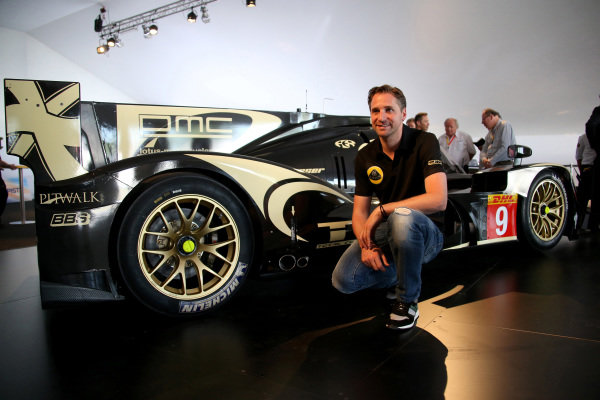Christijan Albers (NED) at the official unveiling of the all new Lotus T129 LMP1 prototype car at the Innovation Centre. The Kodewa Racing Team are now hopeful of having the car ready for the fifth round of the WEC: the 6 Hours of Circuit of the Americas in Austin, Texas on 20 September 2014.24 Heures du Mans, Le Mans, France, 12 June 2014.