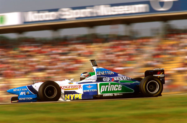 Hockenheim, German.26-28 July 1996.Gerhard Berger (Benetton B196 Renault) failed to finish when his engine blew 3 laps from the end whilst leading.Ref-96 GER 17.World Copyright - LAT Photographic