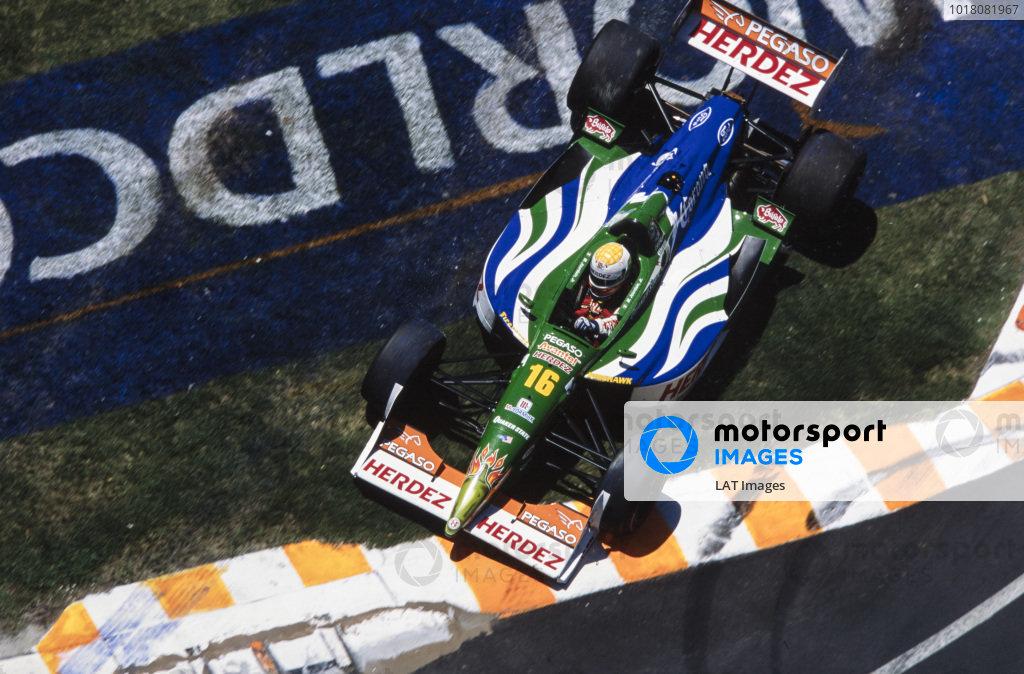 Michel Jourdain Jr, Bettenhausen, Lola B1/00 Ford, takes the the grass.